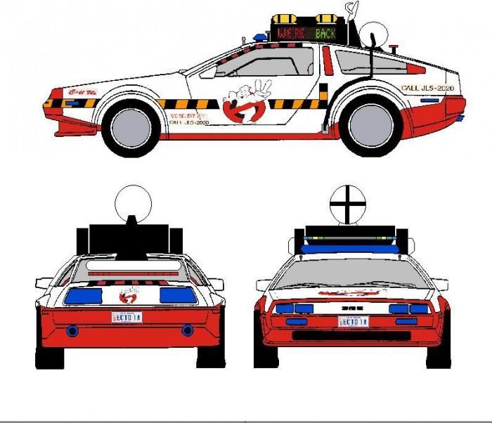 Ecto 1a Mans Delorean Fan Art Ghostbusters